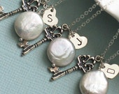 Bridesmaid Gift Set,  3 Key & Coin Pearl Necklaces, White Pearl, Key Charm, Hand Stamped Heart Tag, Sterling Silver, Personalized, Wedding