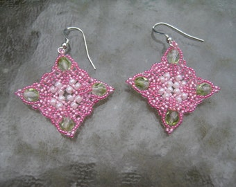 Stunning Diamonds Beaded Earrings by ME From a Russian Pattern