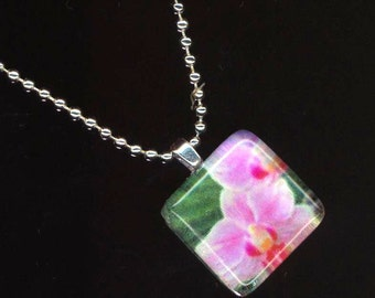 Glass Pendant . Floral Glass Tile . Silver Plated Ball Chain . Pink Flower - Bright Orchid by enchantedbeas on Etsy