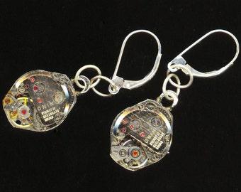 Steampunk Earrings . Swiss 17 Jewel Watch Movement . Sterling Silver Leverback . Victorian Gothic - Time Flies by enchantedbeas on Etsy