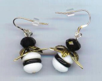 Bee Earrings . Sterling Silver French ear wire .  White and Black Beads . Golden Wings . Crystal beads  - Zebra Bee by enchantedbeas on Etsy