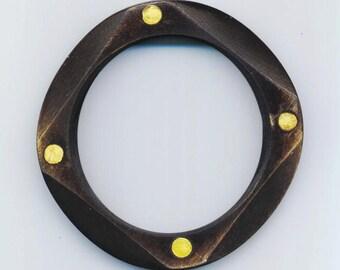 Vintage Carved Wood Bracelet  . Art Deco Bangle . Brass Nails - Wooden Treasure by enchantedbeas on Etsy