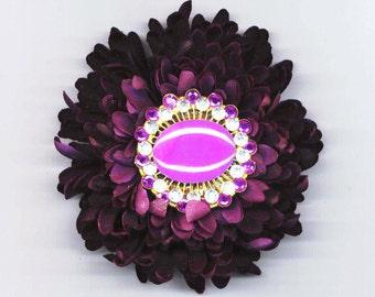 Chrysanthemum Barrette . Flower Barrette . Rhinestones Pin . Lilac Lavender - Purple Mum by enchantedbeas on Etsy