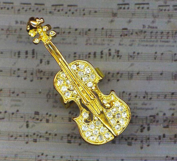 Gorgeous Rhinestone Violin Ring . Love of Music Ring . Cocktail Ring  . Adjustable Statement Ring - Musical Effect  by enchantedbeas on Etsy
