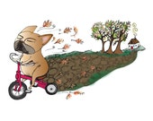 Olive the French Bulldog Riding Red Tricycle on a Fall Day Single Sided Greeting Card