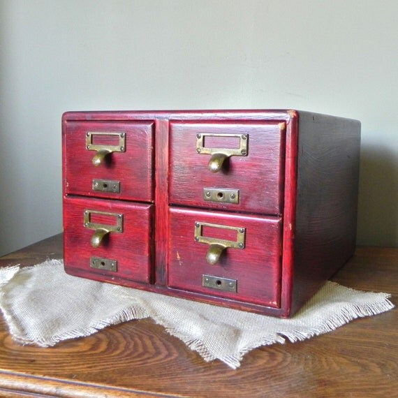 Vintage library card catalog four drawers wood - red finish - labels holders