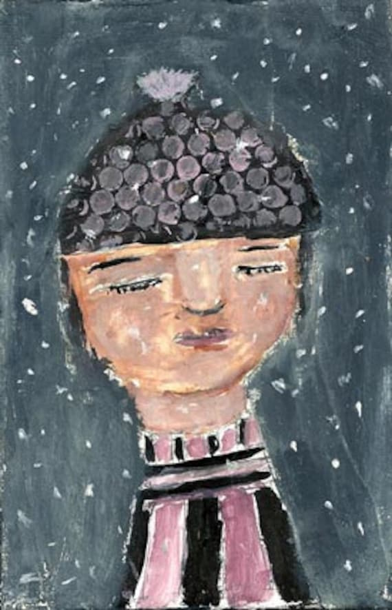 Harriet love snow storms original acrylic blue white polka dot hat 4x6 painting pink