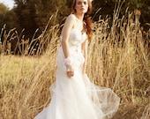 Chances Are - Sweetheart Bohemian Tulle Wedding Dress Blush Train
