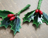 18 Lacquered Holly Leaves with Wired Red Berries - Christmas Packaging Trims Millinery Picks  - Vintage Style Holly Leaves