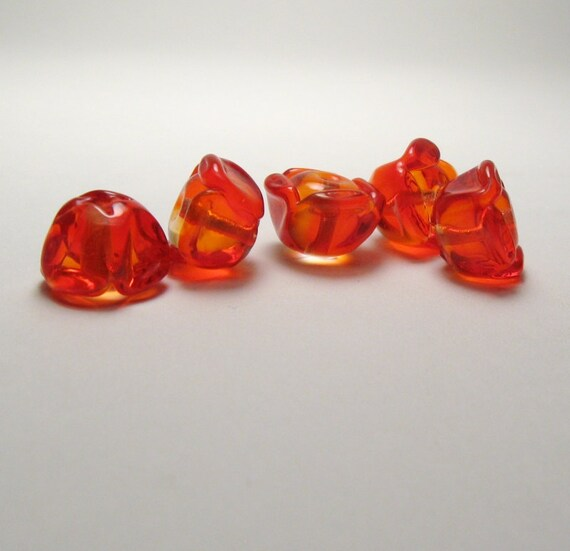 POPPIES Lampwork Glass Bead Flowers in Striking Orange for Summer handmade jewelry supplies