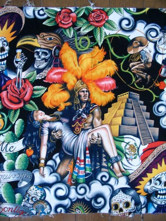 3/8 yard Alexander Henry 'contigo' Spanish Mayan warrior and skulls fabric