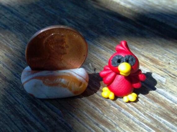 OOAK - Polymer Clay Miniature - CARDINAL Bird
