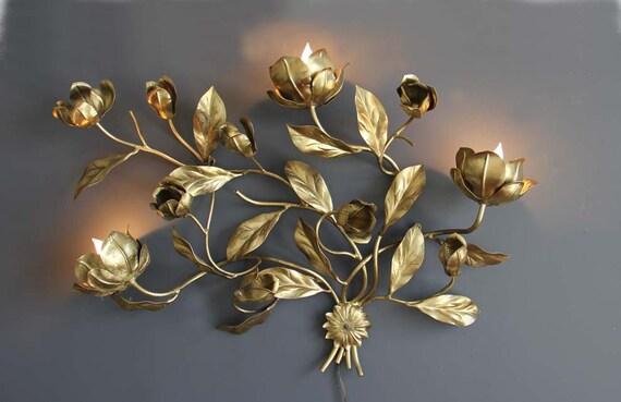 r e s e r v e d Extra Large Gold Hollywood Regency Flower Wall Light