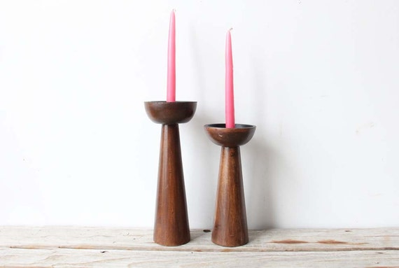 Pair of Large Danish Modern Candle Holders