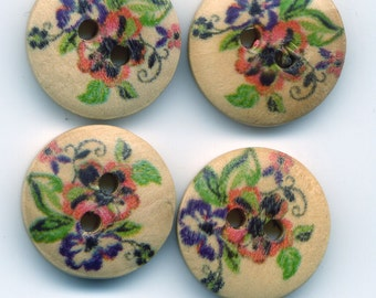 Pink Pansies Buttons Decorated Wooden Buttons 15mm (5/8 inch) Set of 12/BT20