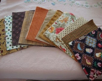 30 6  Inch Quilt Squares Assorted BROWN Prints