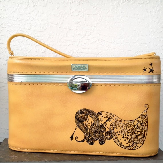 UPCYCLED Mustard Yellow VINTAGE Train Case with Dreamer Girl and Stars by Sherri Dupree Bemis