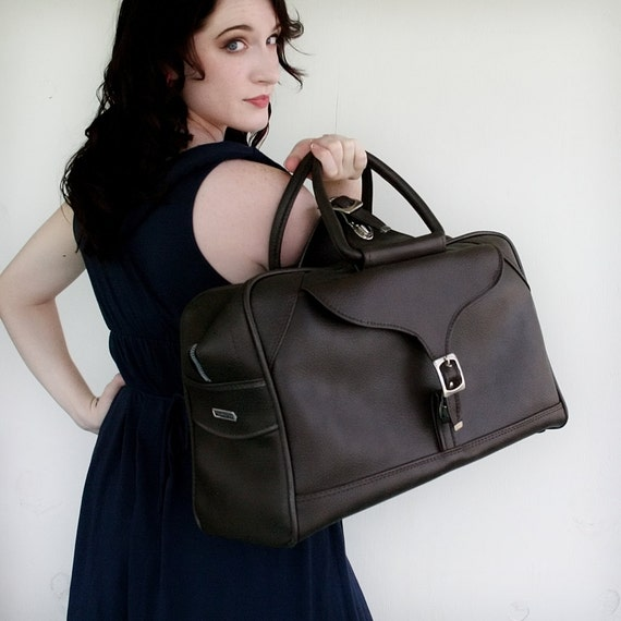 VINTAGE Deep Chocolate Brown TOTE Bag Luggage by American Tourister Briefcase or Duffle