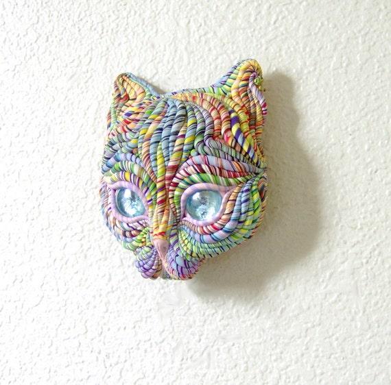 Cosmic Cat Face Wall Sculpture Visionary Art Blue Eyes