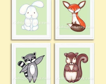 Nursery decor, Fox art print, whimsical girl nursery art, boy nursery wall art woodland animal squirrel raccoon art bunny set, 4 prints