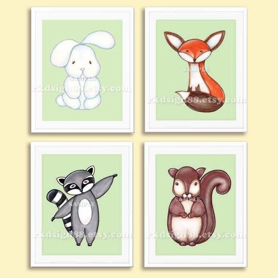 Nursery decor, Fox art print, whimsical girl nursery art, boy nursery wall art woodland animal squirrel raccoon art bunny set, 4 prints