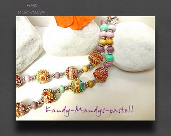 Lampwork, SAR , Handmade, Bead,Beads,Colliers,pastell