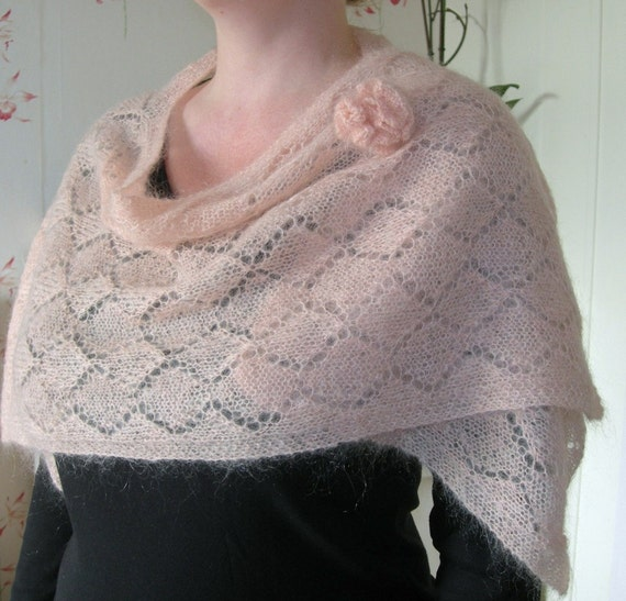 Reserved for Miriam P - Handknitted Mohair shoulder shawl - soft peach