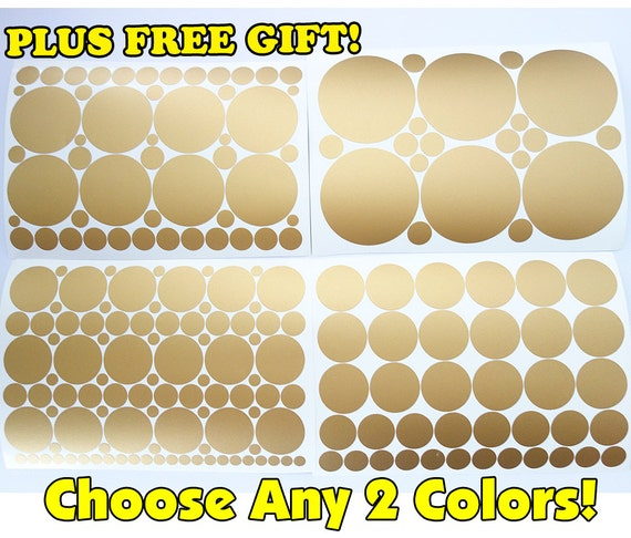 Set of 251 GOLD & Any 1 Color Polka Dot Circles Vinyl Wall Graphic Decals Stickers dot large mixed lot