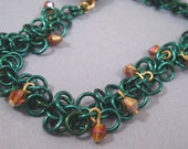 Teal Shaggy Loops Bracelet With Lavender Crystals