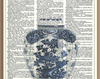 Antique Blue and White Ginger Jar w/Lid No.2---Vintage Dictionary Art Print