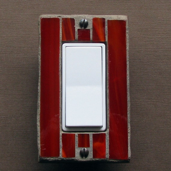 Stained Glass Single Switch Plate - Light Switch Cover- Wall Plate - Fire Engine Red - Orange - 5067