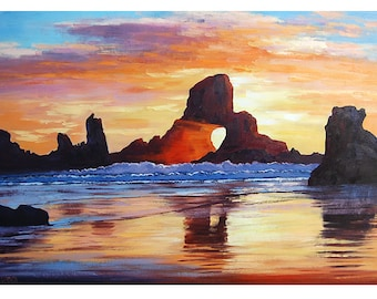 LARGE Beach PAINTING OREGON seascape Original Oil Sunset American Impressionist Art by Graham Gercken