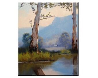 eucalyptus trees Oil Painting australian Farm river landscape fine art by G.Gercken