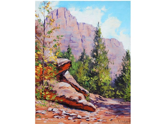Canyon Painting Zion Utah Desert Landscape Traditional Art by G.Gercken