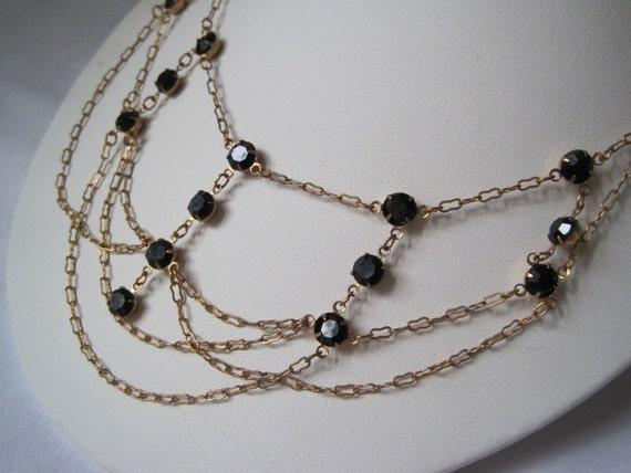 Vintage Necklace - Multi Chain - Black Rhinestones
