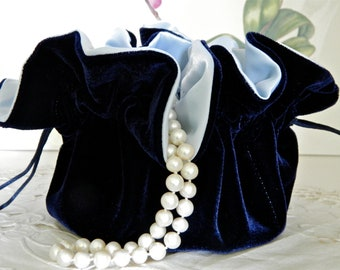 Midnight Blue Velvet Jewelry Pouch for Travel or Home Use