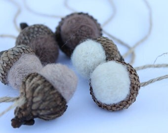 Needle Felted Acorn Ornaments Neutral Colors Tree Decorations Package Tie Ons