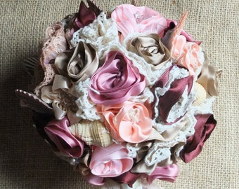 Vintage Style Fabric Flower and Lace Beach Wedding Seashell Sea Shell Bouquet
