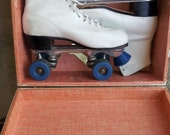 Vintage PACER white leather roller skates with metal case