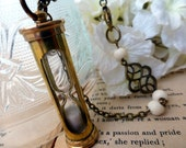 Hourglass Long Necklace - Passage of Time Sand Timer Sweater Necklace - Steampunk Statement Jewelry