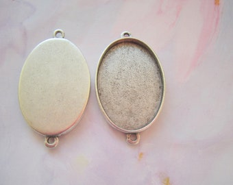 2 Oval Pendant Blanks Extra Large Silver Plated Pewter  (No. ND225)