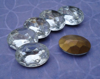 Vintage Czech 18x13mm Crystal Clear Oval Gold foiled Pointed Back Faceted Glass Jewels (2 pieces)