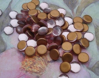 Vintage 11mm Light Rose Smooth Top Gold Foiled Flat Back Round Glass Cabs or Stones (6 pieces)