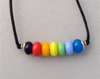 Gay Pride Lamp Work Glass Rainbow Bead Necklace with Two Sliding Knots