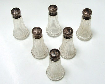 Vintage Salt and Pepper Shakers, Sterling Silver and Glass or Crystal, Matching Set of Six