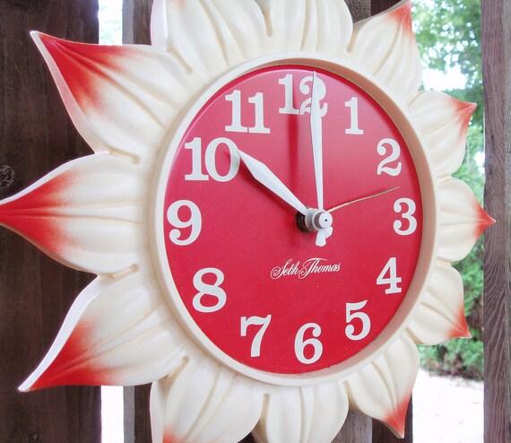 Vintage Seth Thomas Wall Clock Jonquil Sunflower