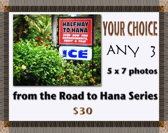 Road to Hana - Set of 3 Art  Prints - Maui Photos - Hawaii - Home Decor - Tropical - Hawaii Photo - Gift Idea