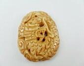 Bone Pendant, large dragon Shape -52mm x 38mm  1 Pcs