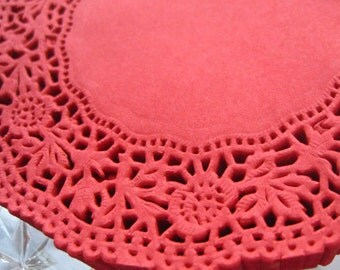 Made In Germany 10 Fancy Paper Lace Doilies Doily In Red 4 Inch  GD 310 R