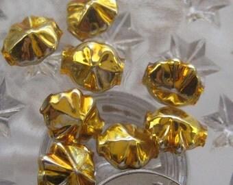 Mercury Glass Beads 8 Fancy Christmas Garland Beads Gold Handmade In Czech Republic  054 G